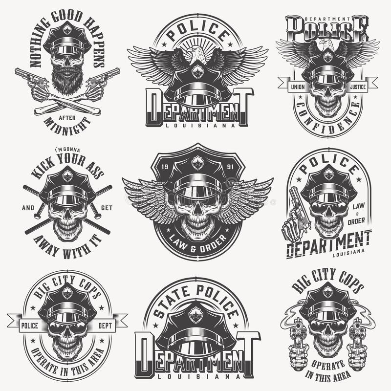 Vintage monochrome police labels set vector illustration