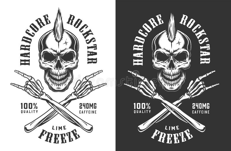 Vintage monochrome rock and roll emblem. Of skull with mohawk and skeleton hands showing rock signs isolated vector illustration vector illustration