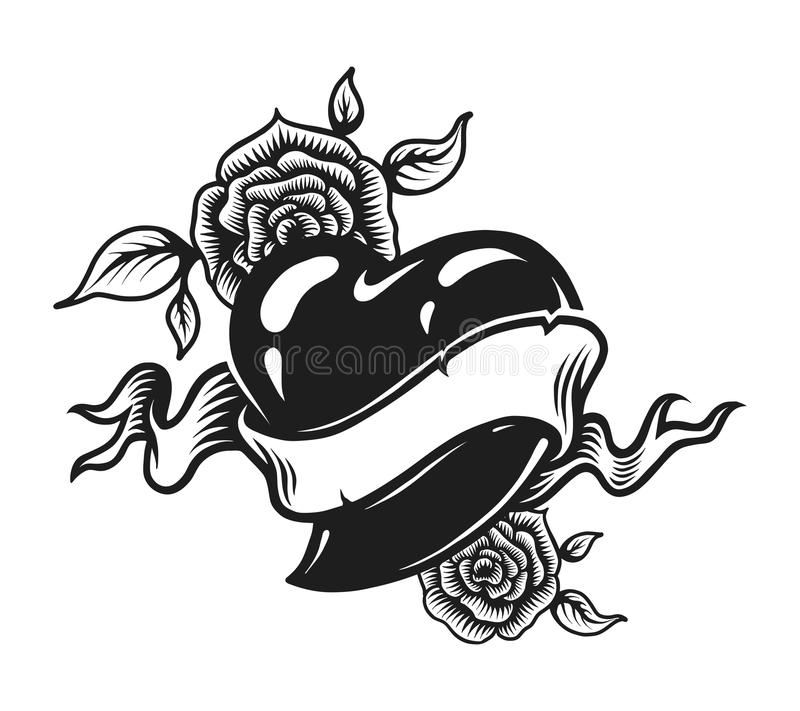 Vintage monochrome romantic tattoo concept royalty free illustration
