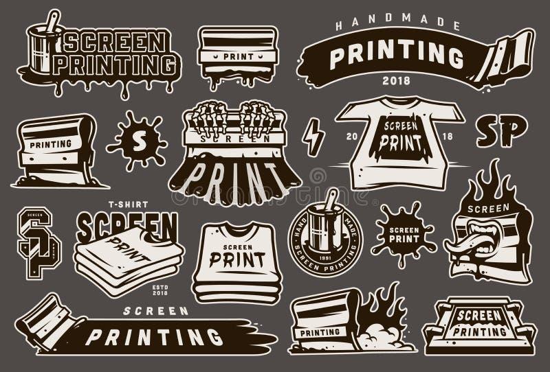 Vintage monochrome screen printing elements set vector illustration