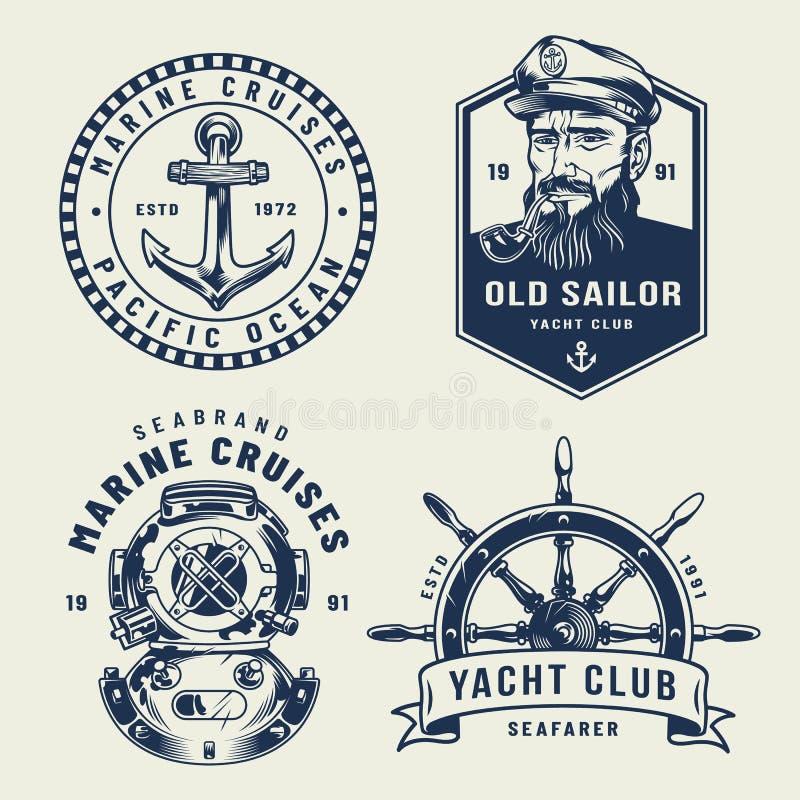 Vintage monochrome sea and marine labels stock illustration
