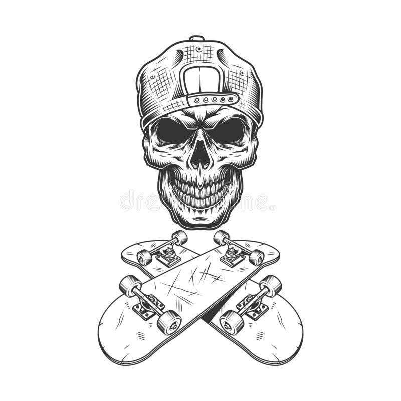 Vintage monochrome skateboarder skull in cap stock illustration