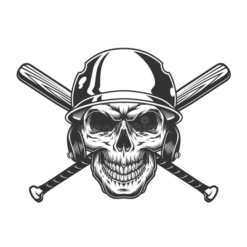 Vintage monochrome skull in baseball helmet vector illustration