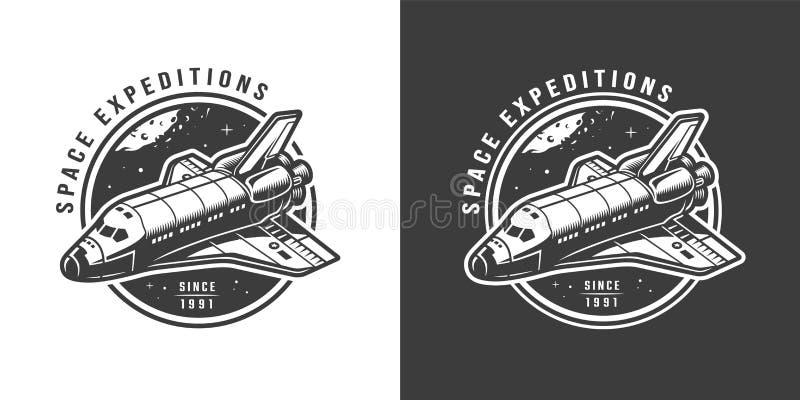 Vintage monochrome space emblem vector illustration