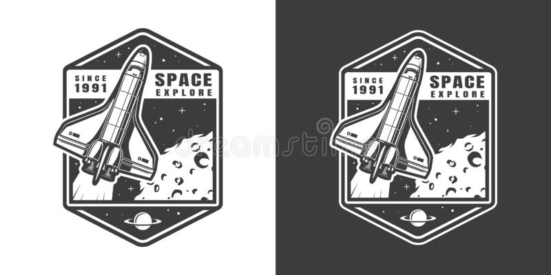 Vintage monochrome space exploration label royalty free illustration