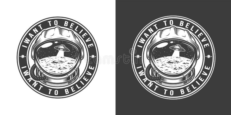 Vintage monochrome space round label royalty free illustration