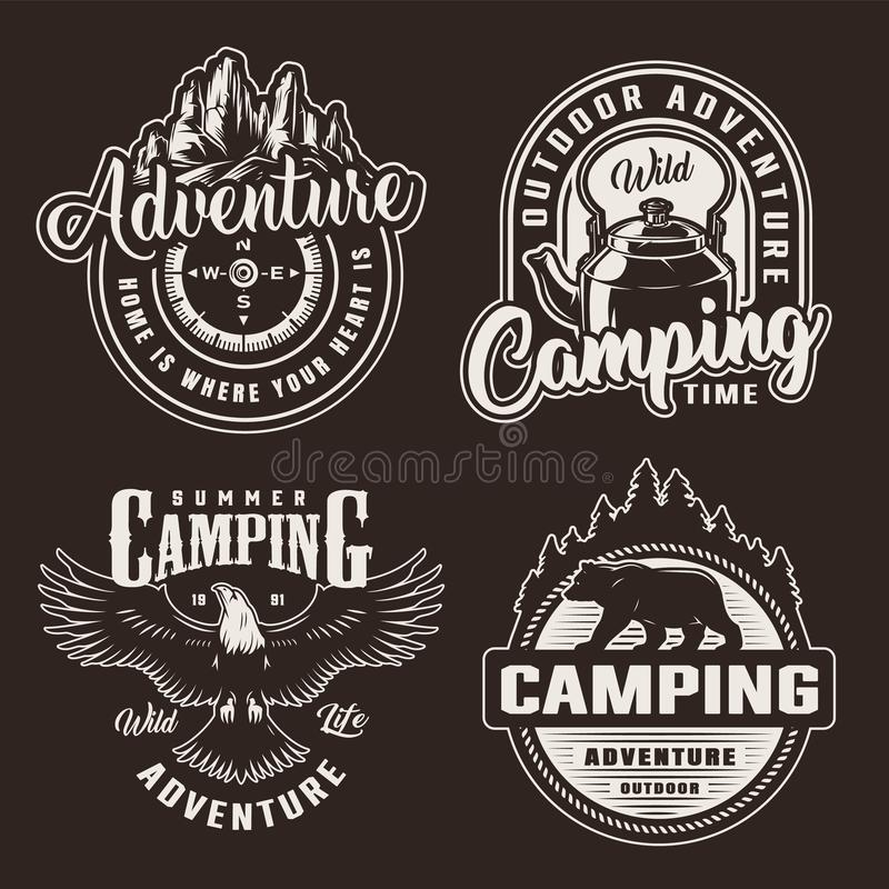 Vintage monochrome summer recreation logotypes vector illustration