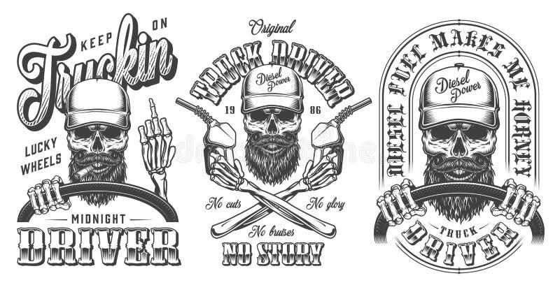 Vintage monochrome trucker emblems collection royalty free illustration