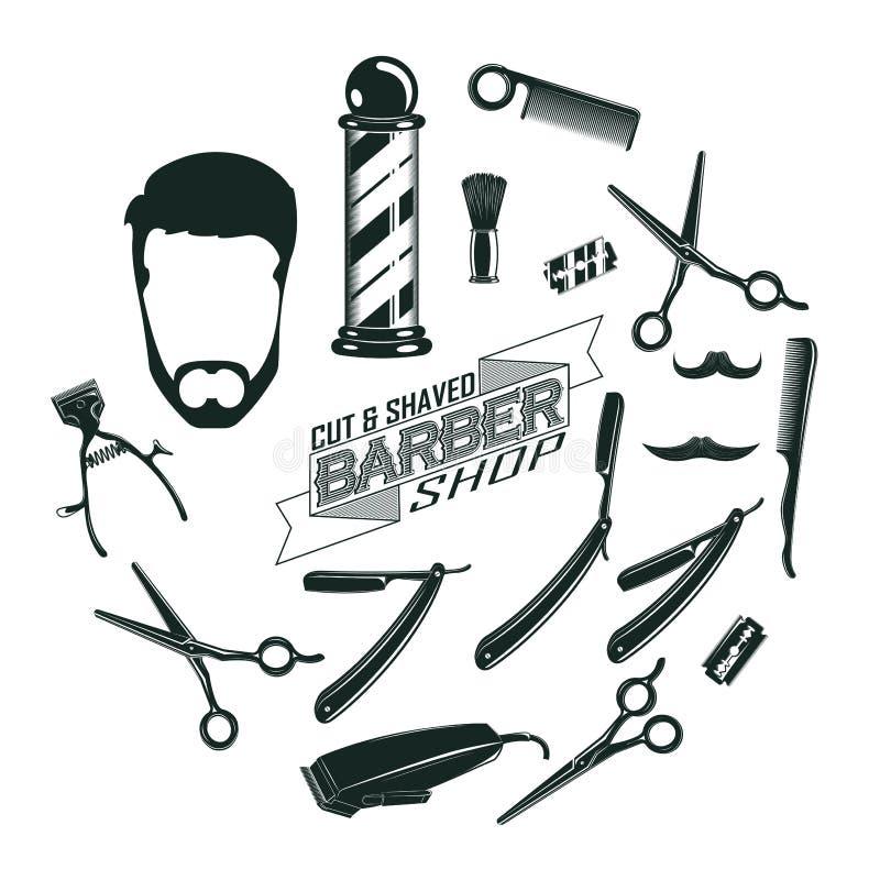 Vintage monocromático Barber Shop Elements Concept stock de ilustración