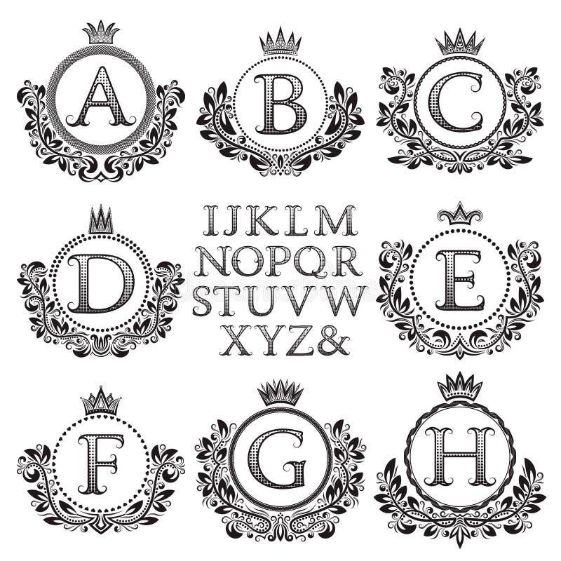 Vintage Monogram Kit. Black Patterned Letters And Floral Coat Of ...