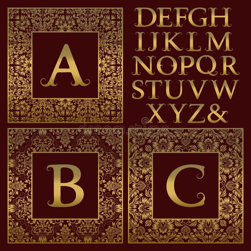 Vintage Monogram Kit. Golden Letters And Floral Square Frames For ...