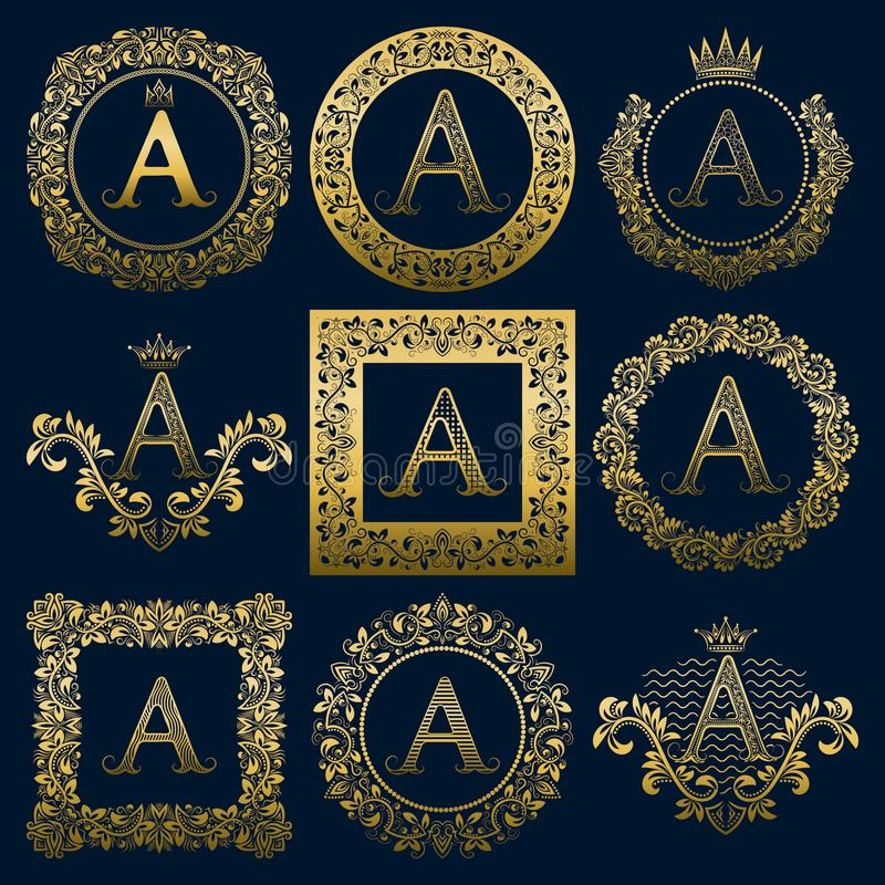 Vintage monograms set of A letter. Golden heraldic logos in wreaths, round and square frames vector illustration