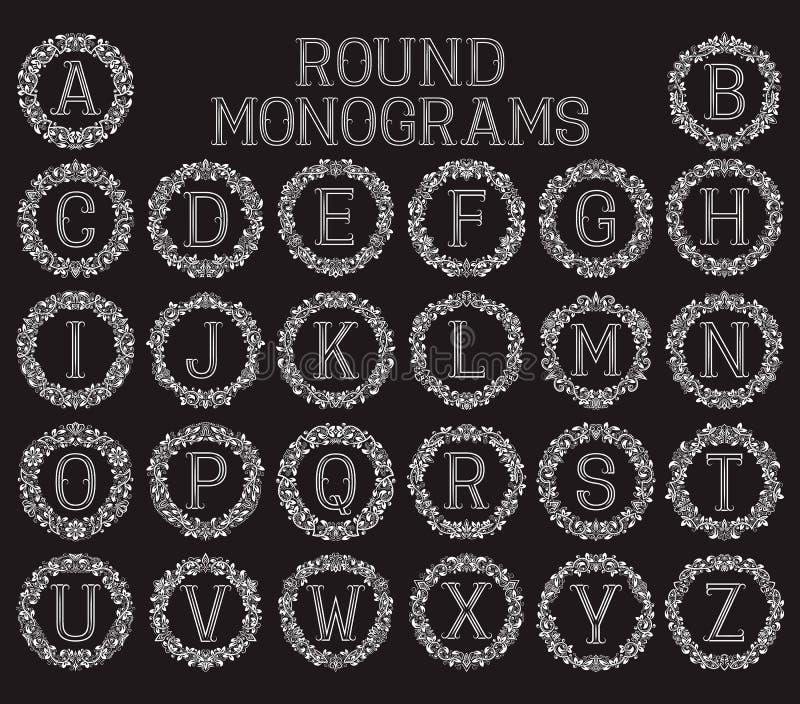 Vintage monograms set in round floral frames. stock illustration