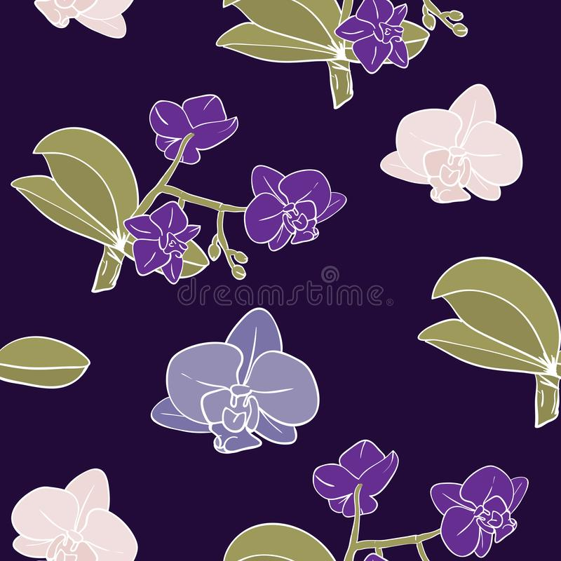 Vintage moody orchids background. Seamless Floral Pattern stock illustration