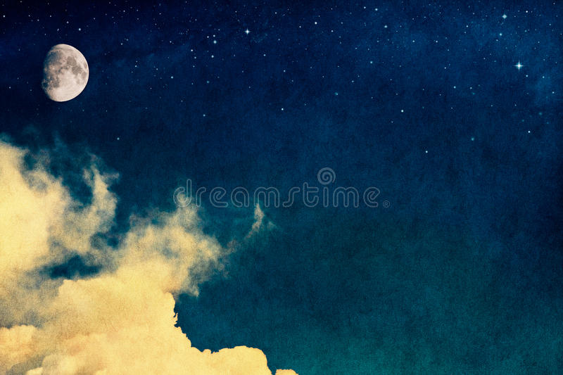 Vintage Moon. A fantasy rendition of clouds and fog with stars and the moon overlaid with a vintage, textured watercolor paper background royalty free stock images