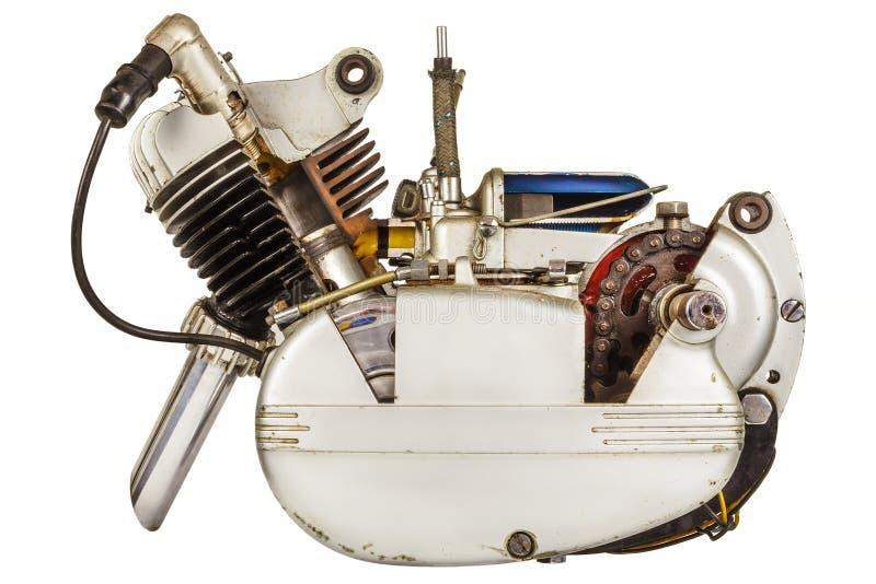 Vintage moped engine isolated on white stock image