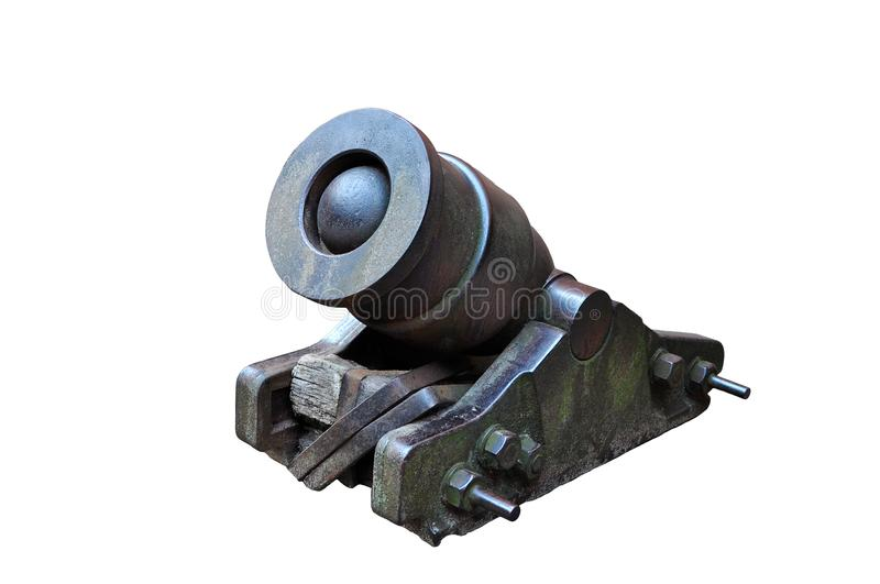 Vintage mortar cannon isolated. royalty free stock image