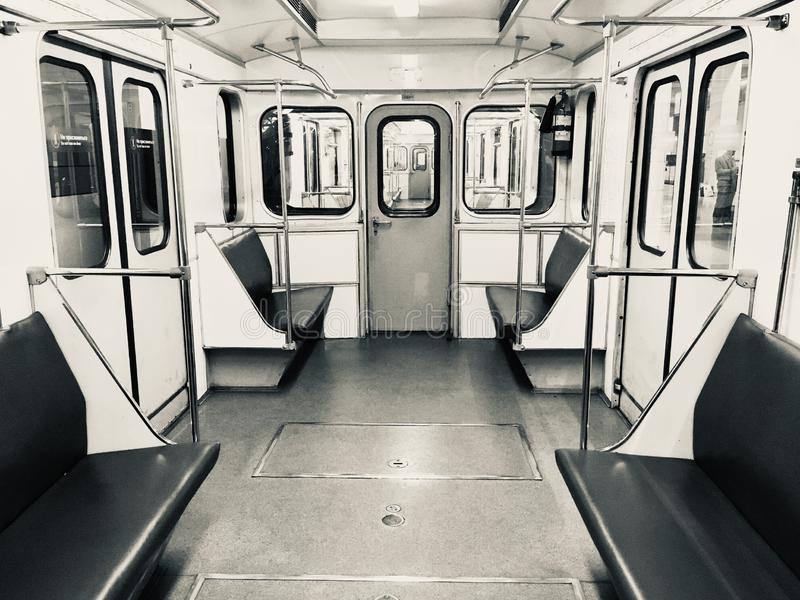 Vintage Moscow Metro. Old vintage Moscow Metro train empty operating during late hours, Moscow, Russia stock photo
