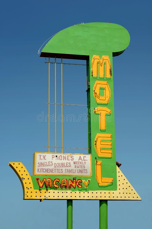 Vintage motel sign stock images