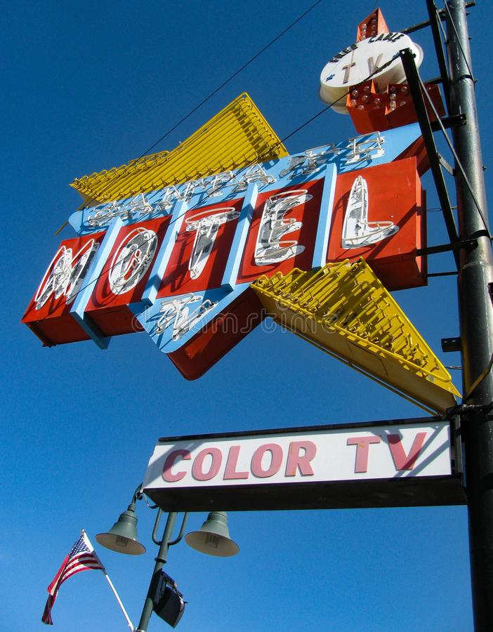 Vintage motel sign advertising color TV, free cable stock images