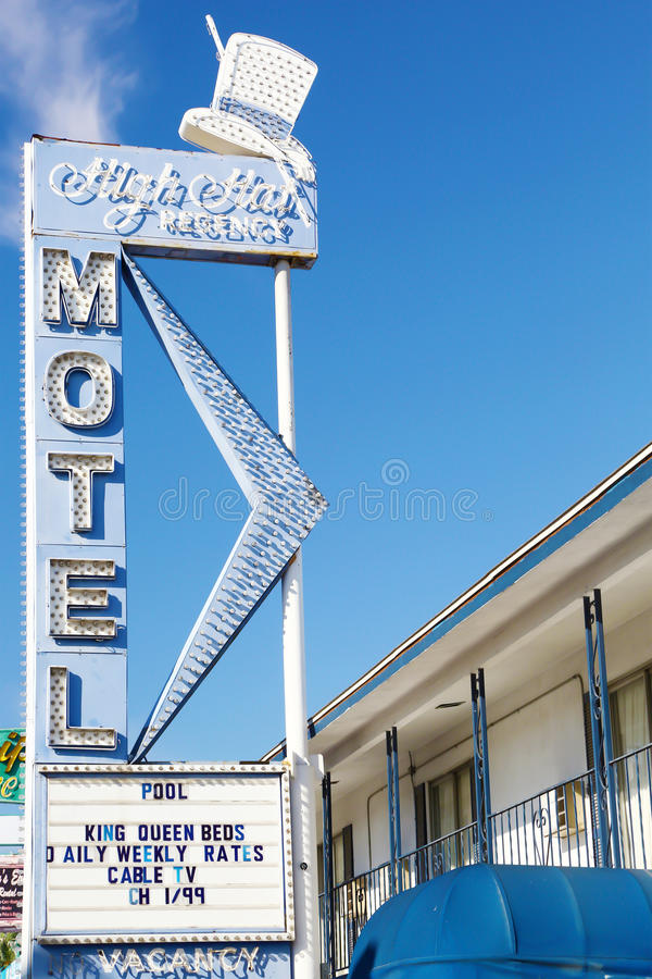 Vintage motel sign and rooms in Las Vegas stock images