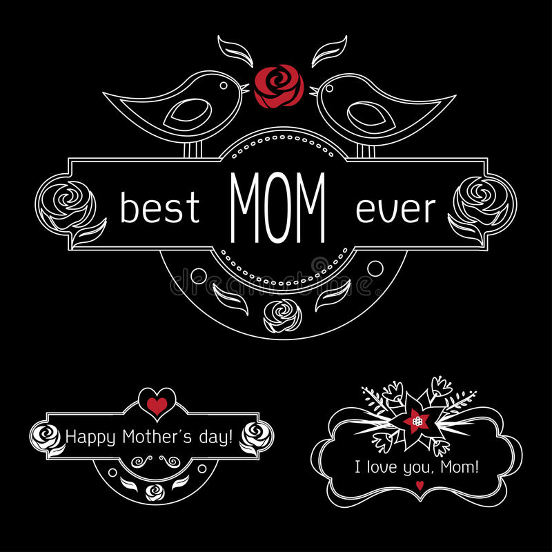 Vintage Mothers Day Labels Set On Chalkboard. best Mom ever, happy Mothers day and I love you, Mom gift card. Vector stock illustration