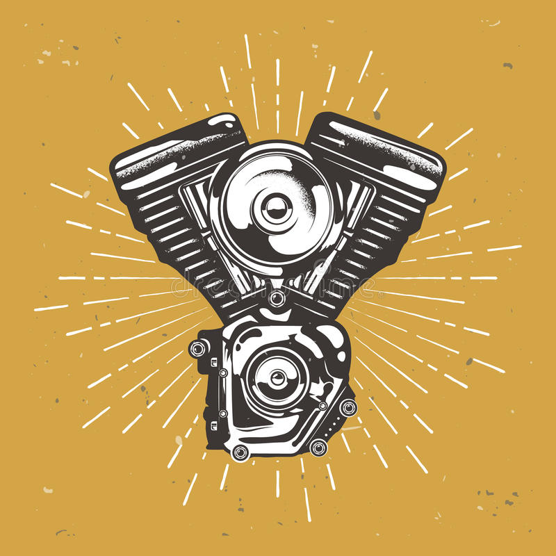Vintage moto engine with retro star burst vector illustration