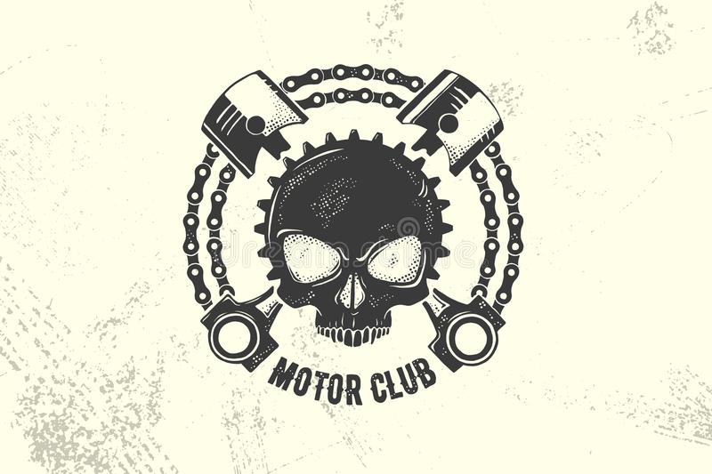 Vintage Motor Club Sign and Label with chain, skull and pistons. Emblem of bikers and riders. Eps 10 vector illustration