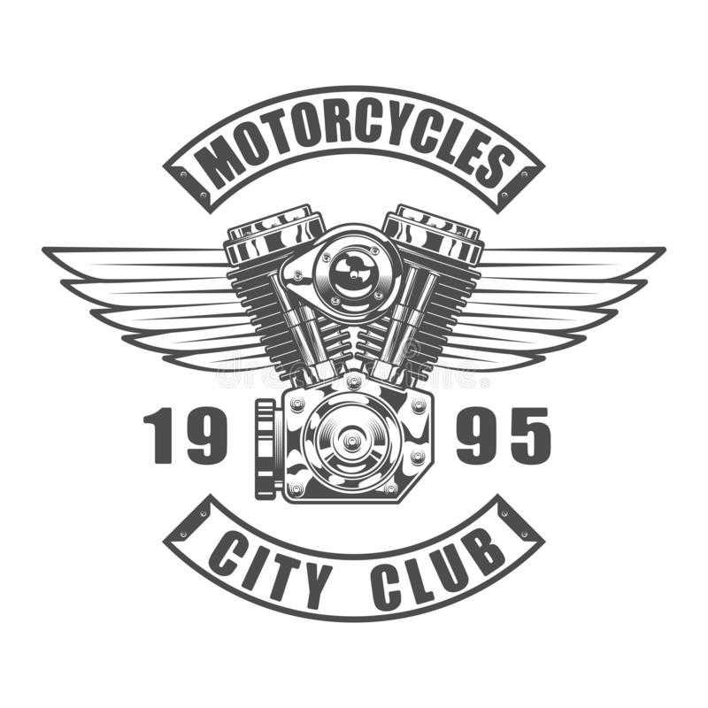 Vintage motorcycle club emblem in monochrome style isolated vector illustration stock illustration