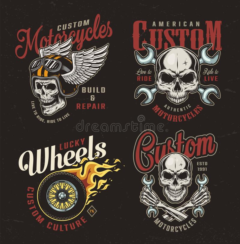 Vintage motorcycle colorful emblems royalty free illustration