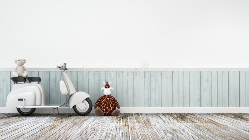 Vintage motorcycle with doll giraffe and baer on wooden floor-3D Rendering royalty free stock image