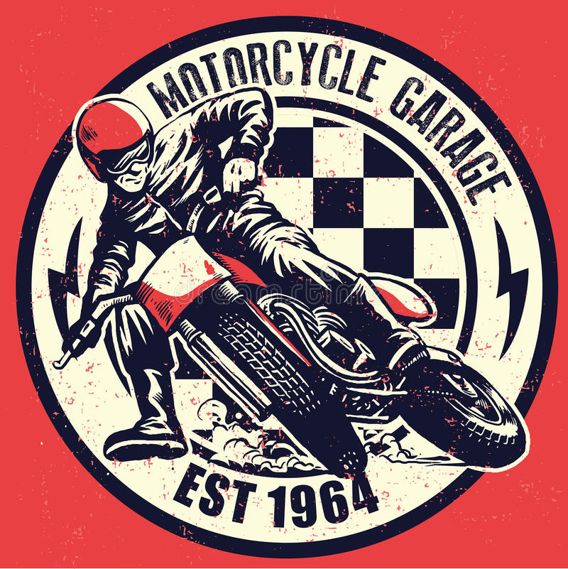VIntage motorcycle garage design with dirty texture vector illustration
