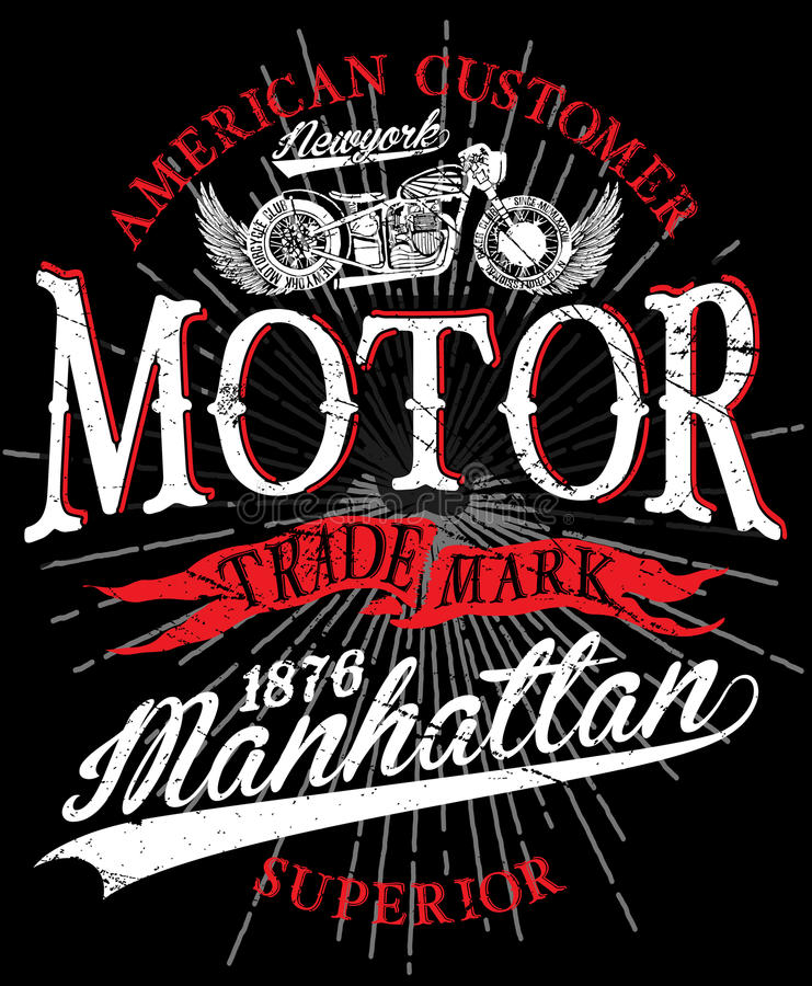 Vintage motorcycle. Hand drawn grunge vintage illustration with royalty free illustration