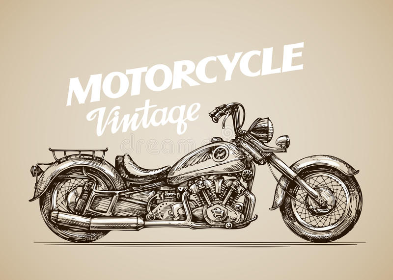 Vintage motorcycle. Hand drawn retro motorbike. Vector illustration stock illustration