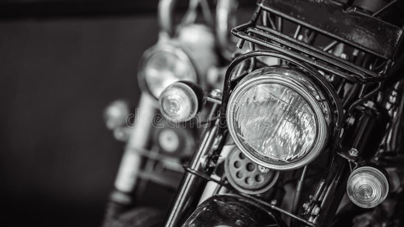 Vintage Motorcycle Headlight Front Head Lamp. Vintage Motorcycle Headlight With Chrome Retro Headlight Front Head Lamp stock photos