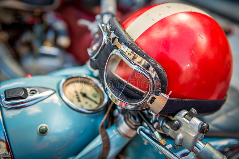 Vintage Motorcycle helmet stock photos