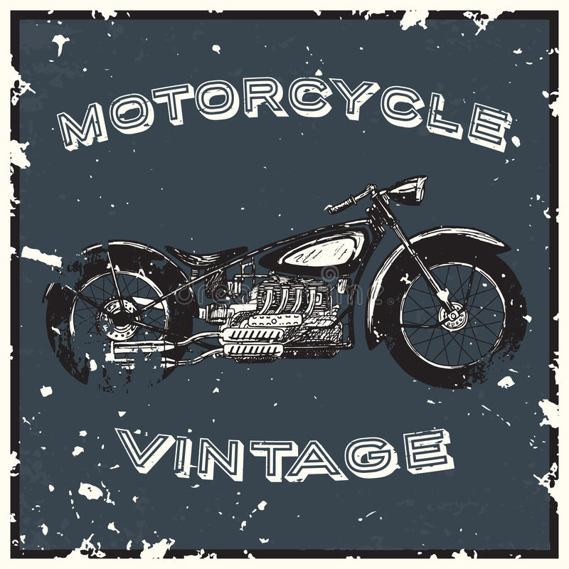 Vintage motorcycle label. Object. Hand drawn vector illustration stock illustration