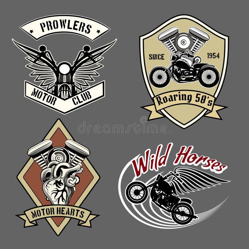 Vintage motorcycle labels vector illustration