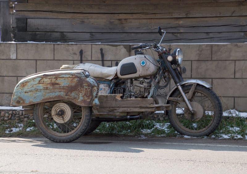 Vintage Motorcycle in Listvyanka Siberia royalty free stock images