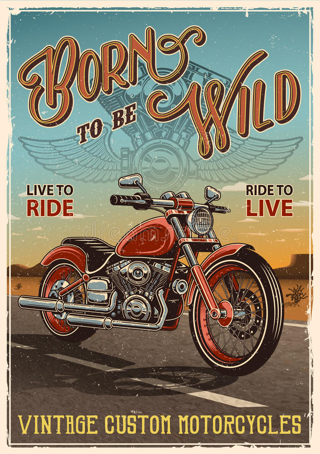 Vintage motorcycle poster stock illustration