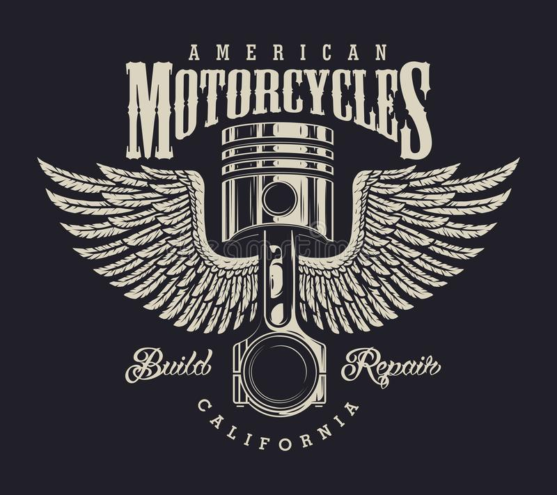 Vintage motorcycle repair shop logo royalty free illustration