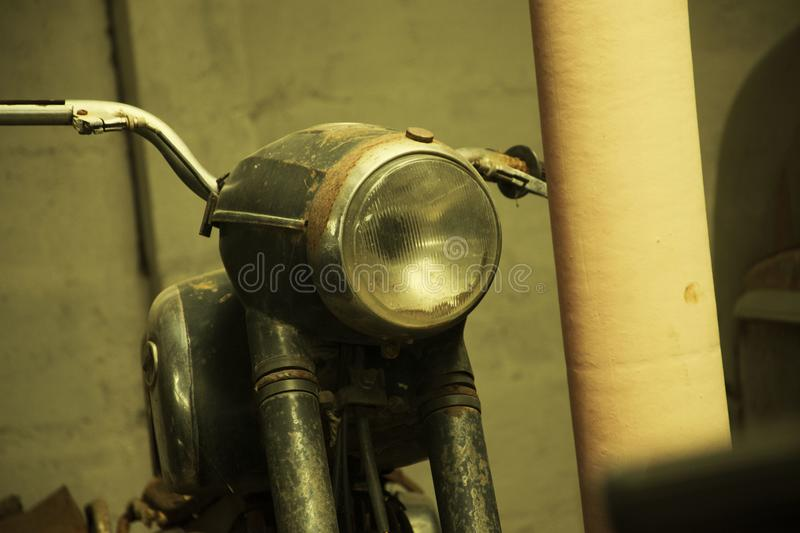 A Vintage Motorcycle spotted in rural India stock photo