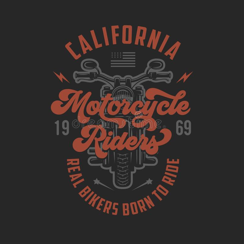 Vintage motorcycle t-shirt design. Racers club emblem. Vector illustration. Vintage motorcycle t-shirt design. Motorcycle riders typography. Born to ride stock illustration