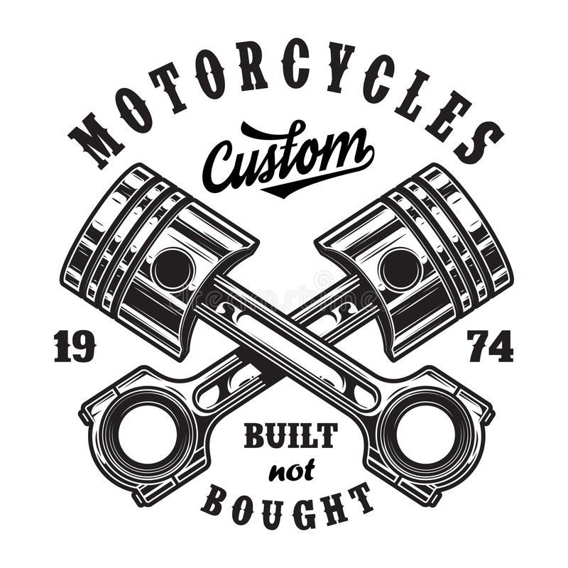 Vintage motorcycle workshop logo royalty free illustration