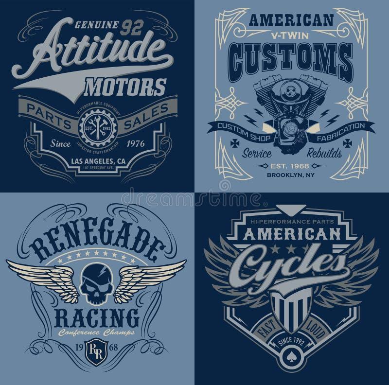 Vintage motorsport emblem t-shirt graphics vector illustration