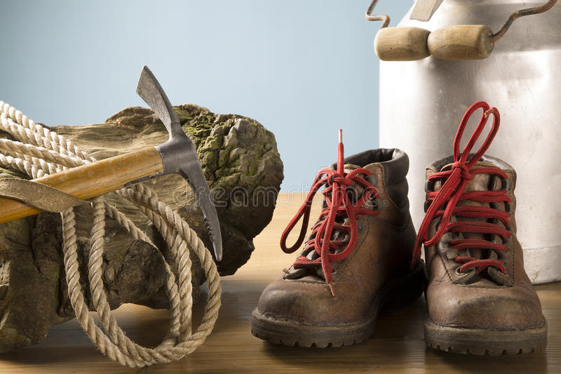 Vintage mountaineering equipment stock photos