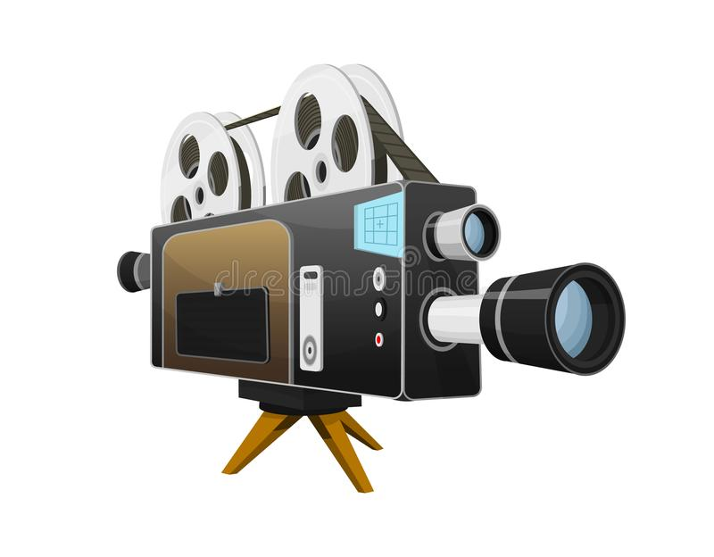 Vintage Movie camera, entertainment and recreation. Retro cinema. Filmmaking and video cassette for Hollywood studio. Film technology for actors and directors stock illustration