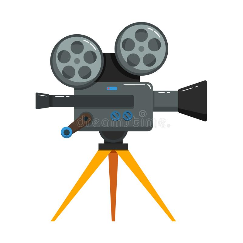 Vintage movie camera in flat style isolated on white background. Design element for poster, card, banner, flyer royalty free illustration