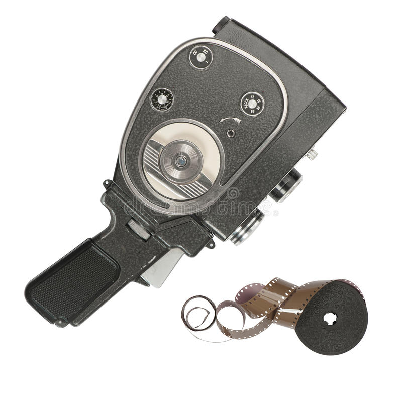 Vintage movie camera and 16 mm film strip. On white background stock photography