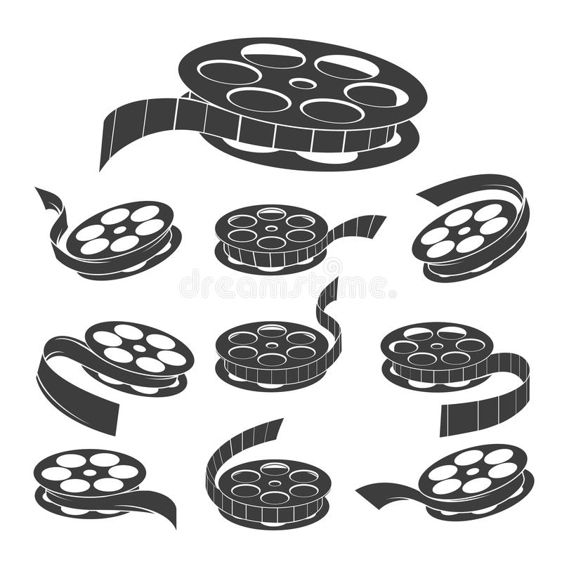 Vintage movie filmstrip roll icons. Film reel. Vector vintage movie filmstrip roll icons, old documentary cinema video symbols isolated on white background royalty free illustration